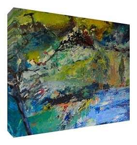 Feel Good Art Toile aux Couleurs Vives Abstrait Appartenant de l'Artiste Val Johnson Ciel Bleu 115 x 78 x 4 cm Taille XXL