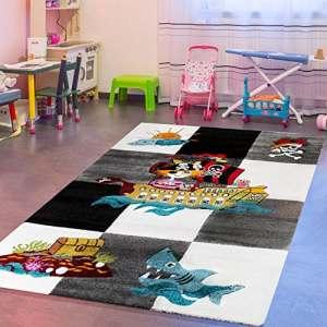 Tapis pour enfants Chambre d'enfant Motif pirate avec Gris Noir Crème ausverkauf, 80×150 cm