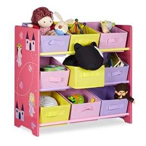 Relaxdays Meuble de rangement jouets enfant FUNNY motifs pirncesse commode bois – 9 paniers cube de rangement en tissu HxlxP: 63 x 65 x 30 cm, rose