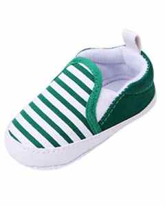 Minetom Pour 0-18 mois Bébé Fille Garçon Chaussures à Semelle Souple Rayé Antidérapant en Coton Toddler Shoes Vert 11 cm