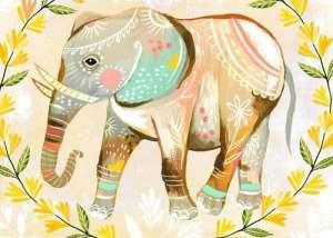 Oopsy Daisy sur toile Décoration murale, fleurs sauvages éléphant, 35,6x 25,4cm