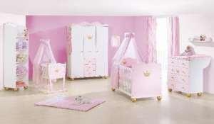 Pinolino – Pack trio Chambre bébé fille Princesse Caroline avec armoire 3 portes – blanc et rose