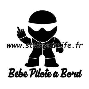 BEBE PILOTE A BORD sticker autocollant STIG baby BLANC 15cm voiture vitre
