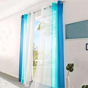 Sundlight 2 x Rideaux Voilages pour Chambre Dégradé bleu Matériau en polyester Bague ronde 140 * 225cm