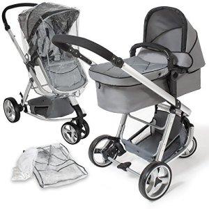 TecTake 3 en 1 poussette canne de voyage voiture d'enfants combinable poussette Baby Jogger voiture d'enfant sport gris + moustiquaire + habillage pluie
