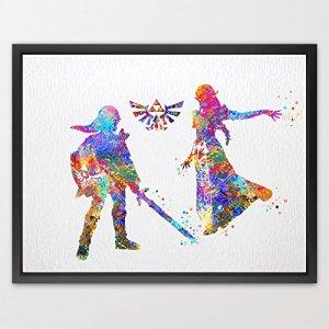 dignovel Studios Princesse Zelda Link et Triforce (The Legend of Zelda) Nintendo moderne de Legend of Zelda Link Aquarelle Art Print Art de décoration de chambre d'anniversaire pour enfant cadeau de mariage n112-unframed