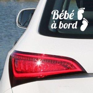 Sticker Bébé à Bord Pieds Blanc par i-Sticker 20cm autocollant pour voiture vitre arrière
