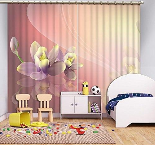 Chlwx Moderne Personnalisée Rideaux Pour Salon Rose Rideaux Simple Fleur 3d  Rideau Tissus Drapes 2 Pièces
