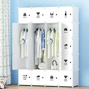 ETTBJA DIY Placard en plastique armoire portable rangement avec sticker Design Your Own (20 cubes avec 4 cintres)