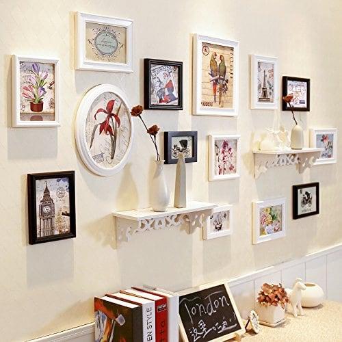 HJKY Photo Frame Wall Set Table-étagère mur mur mur photo cadre ...