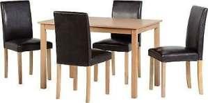 Ashmere Ensemble de salle à manger en bois de frêne plaqué/imitation cuir Marron