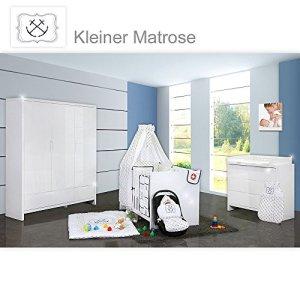 Chambre de bébé luiy brillant 20pièces avec 3türigem KL. + textiles de Petite Marinière Bleu