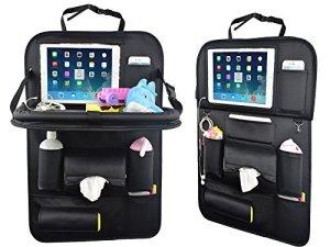 Organiseur pour face arrière de siège de voiture avec support de tablette de YOOSUN, organiseur pour voiture pour rangement des jouets d'enfant, du tout-petit, stockage de bouteille, tablette pliante, accessoires de voyage familial (1 Pack)