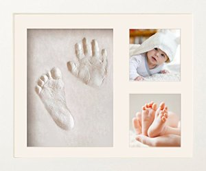 Cadre photo bébé NIMAXI avec empreinte en plâtre, dimension 23x28cm, couleur blanc, cadre photo kit empreinte main et pied