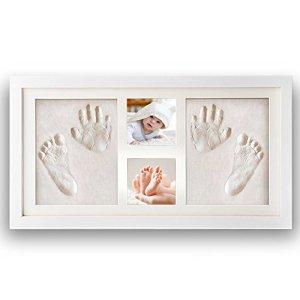 Cadre photo bébé NIMAXI avec empreinte en plâtre, dimension 43x25cm, couleur blanc, cadre photo kit empreinte main et pied