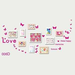 EMVANV Creative Papillons décoratifs Sticker mural DIY Amour mur Autocollant pour cadre photo Home Decor, As Picture Show, ay006d