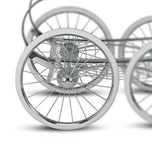Inglesina–Classica Poussette Roue arrière de moto avec frein amovibles Couronne; Original Inglesina Notebook supplémentaire