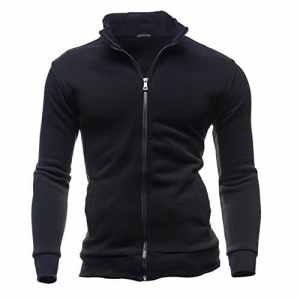 Kingwo Classique Col Montant Zip Jacket Veste Hommes Veste à Manches Longues Veste de Sport (Noir, M)