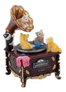 Musicbox World 1 pièce Motif Gramophone avec petit chat