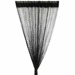 Panneaux de paillettes Rideau moustiquaire et séparateur de pièce en voile Rideaux Décor Noir 96x 200cm