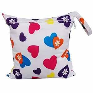 Westeng Sac à Couches lavables étanche zippé Portable Réutilisable Lavable Sac à Couches Motif d'amour