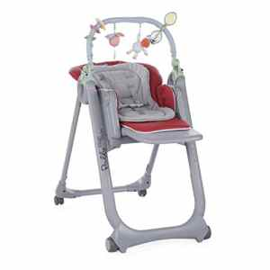 Chicco Polly Magic Relax Chaise Haute avec 4 Roues, Gris (Gris-Rouge)
