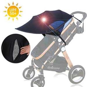 FREESOO Pare-soleil Poussette Bébé Universelle Anti-UV UPF50+ Complète Canopy Moustiquaire Auvent de Poussette en Lycra Pliable Pare-soleil Accessoires Noir