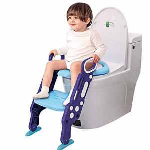 GBlife Siège de Toilette Enfant Pliable Reducteur de Toilette Bébé Échelle de Toilette avec Marches Larges Lunette de Toilette Confortable Souple Enfants Hygiéniques Tabouret (bleu-Violet)