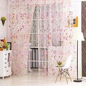 Sankt Sheer Rideaux Panneau Passe Tringle Voile Home D ¨ ¦ cor Window Drapes pour salon/salle de lit pour enfants (1Panel, 39W X 79L, 39W X 106L), rose, 39*106inch