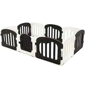 DF Parc de bébé en Plastique avec Panneau de Station de Jeux et d'activité, barrière de sécurité pour bébé (Couleur : Noir)