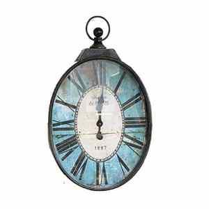 DollylaStore Horloge Murale en Fer forgé Ovale Industrielle Vent Style américain Village Vintage Pastorale Horloge du Salon (Bleu, 22,0 * 37,4 * 2,0 po)