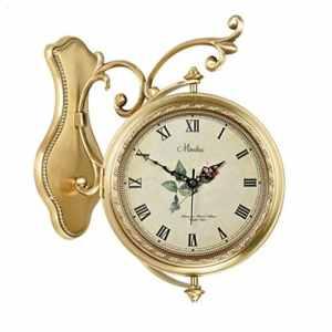 Horloge murale silencieuse en cuivre, double face, salon Horloge à quartz créative