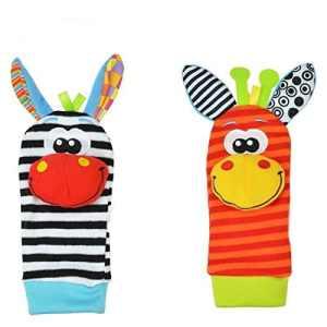 Westeng 1 paire Bébé Chaussettes jouets hochet Mignon Animal Donkey Doux Peluche Poignet Chaussettes pour Enfant Cadeau 0-6 mois bébé