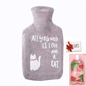 Bouillotte Eau Chaude Grande Mignon Dessin Animé Animal de l'eau Chaude Sac Chauffe-mains Winter Cadeau Idéal pour Femme Fille Enfants, 1L (z-gris chat)