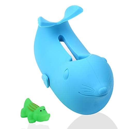 Couvercle de bec de baignoire pour bébés – Pour enfants, les tout-petits, animaux de compagnie – 1 jouet de crocodile fourni, bleu