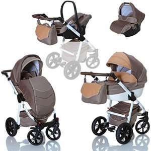 LCP Kids Poussette combinee 3en1 LUCATO eco cuir pour bebe et enfant 0-36 moins pliable avec module canne et siege auto groupe 0+ du 0 a 13 kg – marron beige