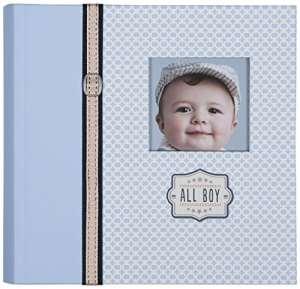 CR Gibson Slim Bound Album photo de bebe – bebe nouveau-ne Set cadeau / souvenir / livre de la memoire / Baby Journal (All Boy)