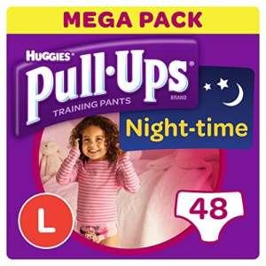 Huggies Pull-Ups Couches Culottes d'apprentissage pour la nuit pour les filles – L – 48 Unités