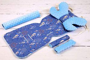 Solenzo – Set 4 pièces Protection siège poussette et cale tête bébé assorti (Attrape rêves)