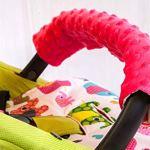 Solenzo – Set 4 pièces Protection siège poussette et cale tête bébé assorti (Gris)