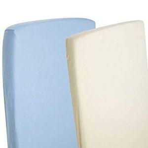 4X draps-housses Compatible avec Chicco Next 2Me 100% coton Bleu/crème