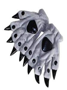 Animal Gaw Claw Gants de Main Peluche Gants de Griffe Animale Adulte Halloween Costume (Gris)