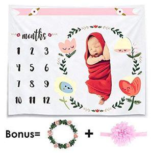 CAVN Mensuel Bébé Milestone Couverture Photo Accessoires Pousses Toile de Fond, Réutilisable Bébé langer Couverture pour la Photographie