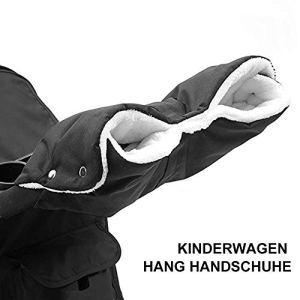 Handmuff Muff Chauffe-mains en polaire imperméable et coupe-vent Doublure chaude pour poussette Noir