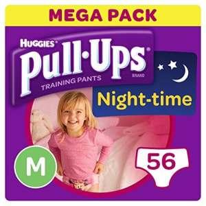 Huggies Pull-Ups Couches Culottes d'apprentissage pour la nuit pour les filles – M – 56 Unités