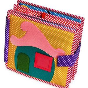Jolly Designs Livre de Haute qualité Fait Main Quiet Book Me All Day en Feutre Complexe pour l'apprentissage précoce – Livre Doux sensoriel pour Les Tout-Petits et Les Enfants