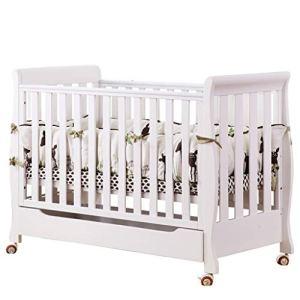 lit bébé Lit bébé en bois massif Lit style européen en bois massif Lit berceau multifonction (Couleur : Blanc)