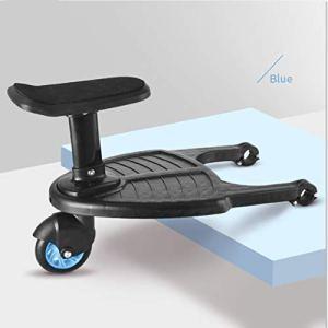 Manyo Marche Pied pour Poussette Universelle, Mini Buggy Board Roue à 360 ° Planche Poussette Pédale Pliable (Bleu)