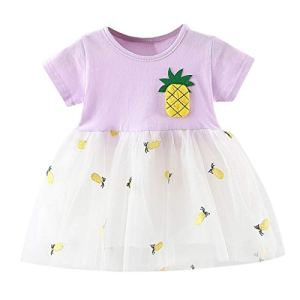 POIUDE BéBéS Filles Robe de Princesse Patchwork Robe de Tulle 3-24 Mois(Violet,12-18 Mois)
