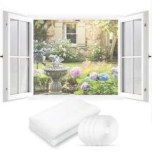 STARRY Fly Bug Mosquito Protection D'écran en Maille Filet, 2 Pièces 130 cm x 150 cm Moustiquaire pour Fenêtre avec 4 Auto-Rubans Adhésifs